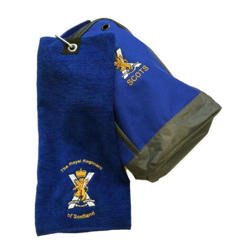 UK Military Shoe bag and golf towel for Royal Regiment of Scotland in royal blue and embroidered cap badge.